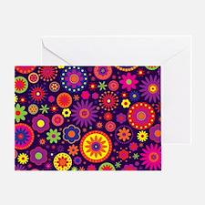 Hippie Purple Rainbow Flowers Greeting Card