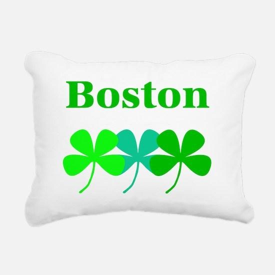 I Love Boston Green Hues Rectangular Canvas Pillow