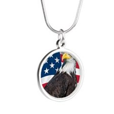USA flag with bald eagle Silver Round Necklace