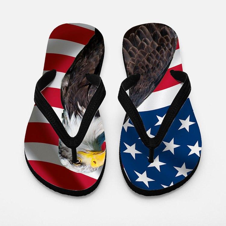 USA flag with bald eagle Flip Flops