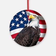 USA flag with bald eagle Round Ornament