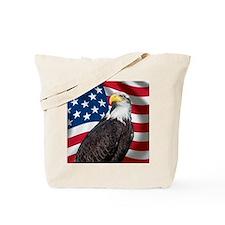 USA flag with bald eagle Tote Bag