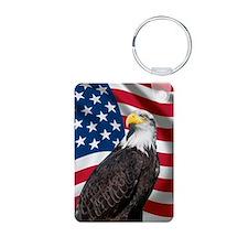 USA flag with bald eagle Keychains