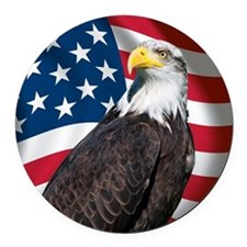 USA flag with bald eagle Round Car Magnet