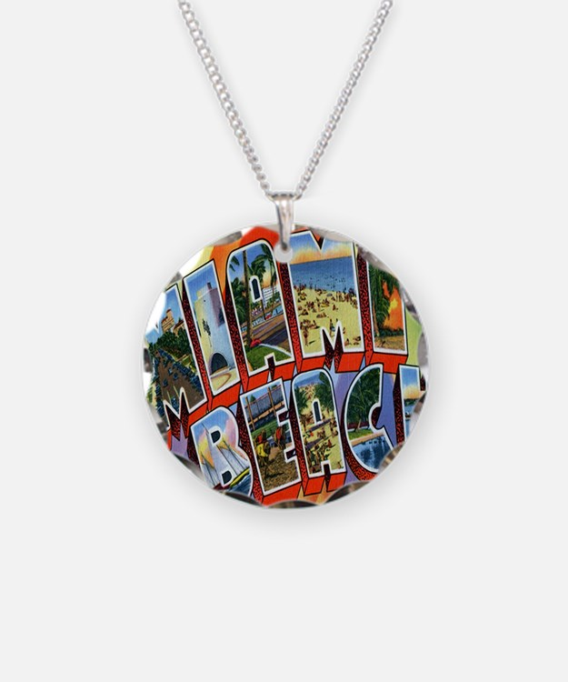 Vintage Miami Beach Postcard Necklace