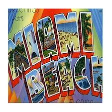 Vintage Miami Beach Postcard Tile Coaster