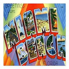 "Vintage Miami Beach Post Square Car Magnet 3"" x 3"""