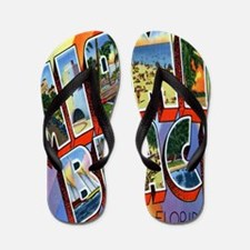 Vintage Miami Beach Postcard Flip Flops