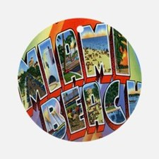 Vintage Miami Beach Postcard Round Ornament