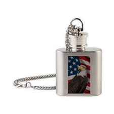USA flag with bald eagle Flask Necklace