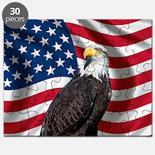 USA flag with bald eagle Puzzle
