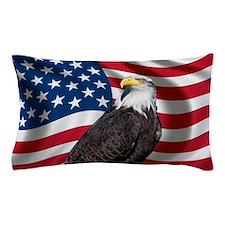 USA flag with bald eagle Pillow Case