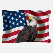 USA flag with bald eagle Pillow Case