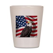 USA flag with bald eagle Shot Glass