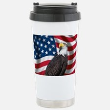USA flag with bald eagl Stainless Steel Travel Mug