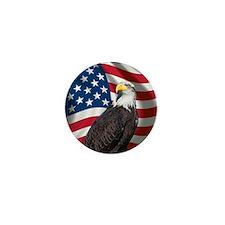 USA flag with bald eagle Mini Button