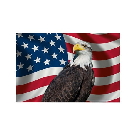 USA flag with bald eagle Rectangle Magnet