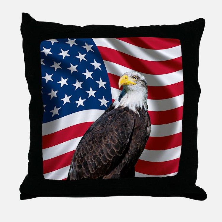 USA flag with bald eagle Throw Pillow