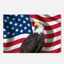 USA flag with bald eagle Postcards (Package of 8)