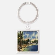 Vintage Coconut Beach Florida Post Square Keychain