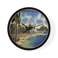 Vintage Coconut Beach Florida Postcard Wall Clock