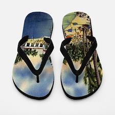 Vintage Coconut Beach Florida Postcard Flip Flops