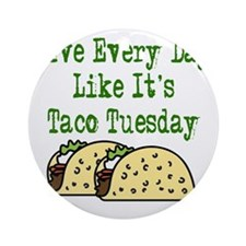 Taco Tuesday On Light Round Ornament