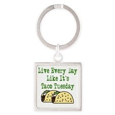 Taco Tuesday On Light Square Keychain
