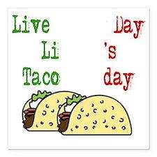 "Taco Tuesday On Black Square Car Magnet 3"" x 3"""