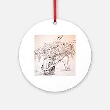 Gardener's Wheelbarrow Round Ornament