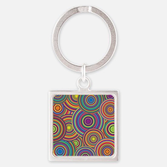Rainbow Retro Circles Pattern Square Keychain