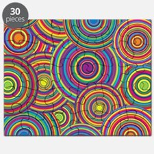 Rainbow Retro Circles Pattern Puzzle