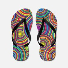 Rainbow Retro Circles Pattern Flip Flops