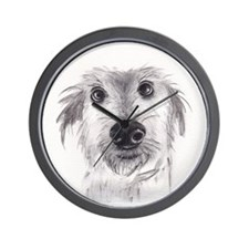 Cute scruffy lurcher Wall Clock