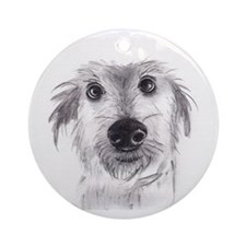 Cute scruffy lurcher Round Ornament