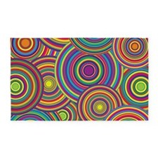 Rainbow Retro Circles Pattern 3'x5' Area Rug