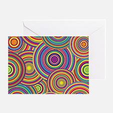 Rainbow Retro Circles Pattern Greeting Card