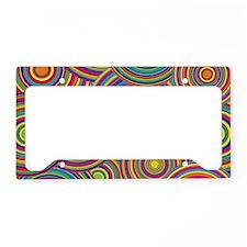 Rainbow Retro Circles Pattern License Plate Holder