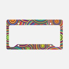 Rainbow Retro Circles Pattern License Plate Holder