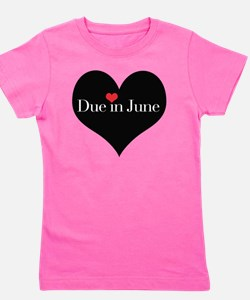 Due in June Heart Girl's Tee