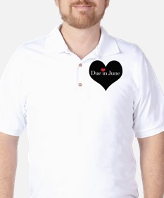 Due in June Heart Golf Shirt