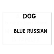 Blue Russian cat designs Postcards (Package of 8)