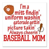 Baseball mom Square Car Magnets