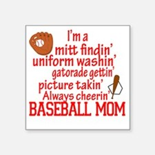 "Baseball Mom Square Sticker 3"" x 3"""