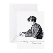 Anonymous Writing woman Greeting Cards