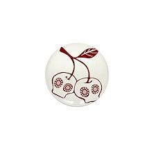 Floral Apple Skull Mini Button