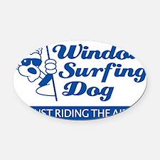 WinSurf_dog_A Oval Car Magnet