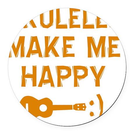 My Ukukele makes me happy Round Car Magnet