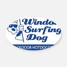WinSurf_dog_6 Oval Car Magnet