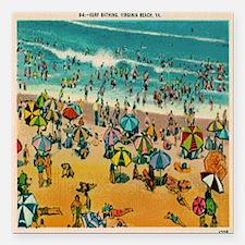 "Vintage Virginia Beach P Square Car Magnet 3"" x 3"""